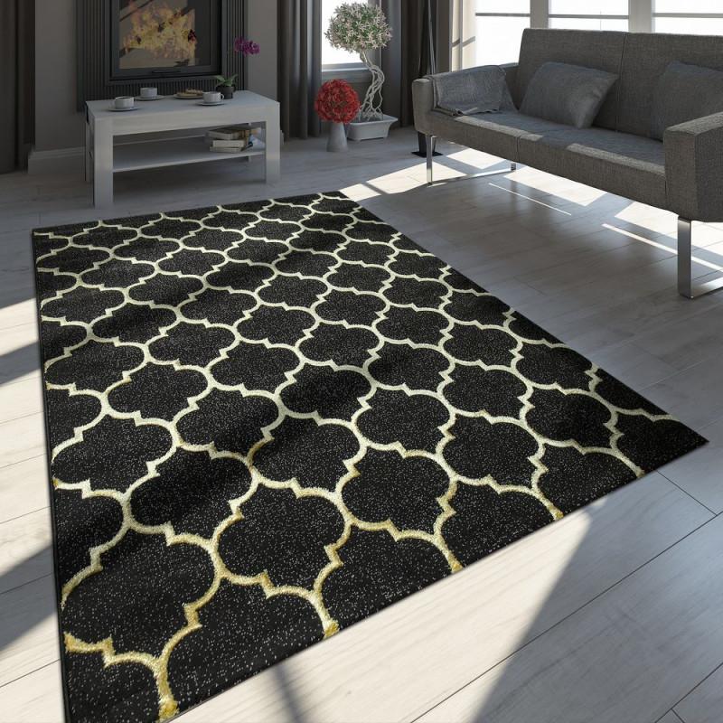 Teppich Marokkanisches Muster Schwarz von Schwarzer Teppich Wohnzimmer Bild