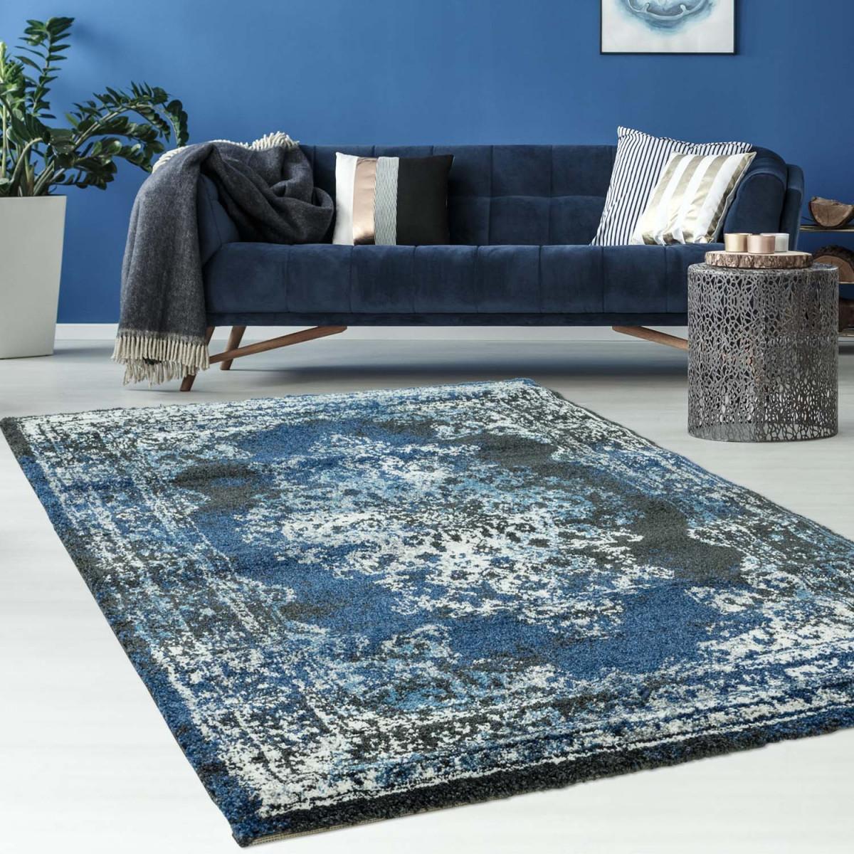 Teppich Mit Klassischem Design  Gabeh 3931 Schwarz Blau von Wohnzimmer Teppich Blau Photo