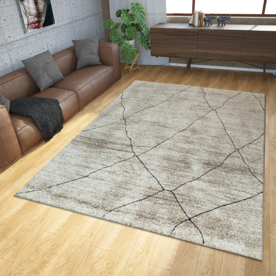 Teppich Modern Ethno Beige Creme  Wohnzimmerteppiche von Wohnzimmer Teppich Groß Bild