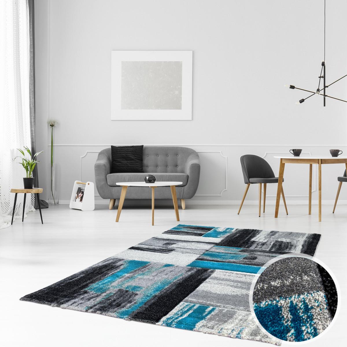 Teppich Modern Flachflor Konturenschnitt Hand Carving Meliert Streifen In  Blau Grau Für Wohnzimmer Schlafzimmer Größe In Cm160 X 230 Cm von Blau Teppich Wohnzimmer Bild
