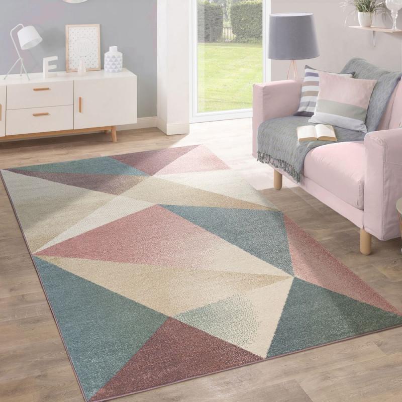 Teppich Modern Pastell Geometrisch Multifarben  Teppich von Wohnzimmer Teppich Altrosa Photo