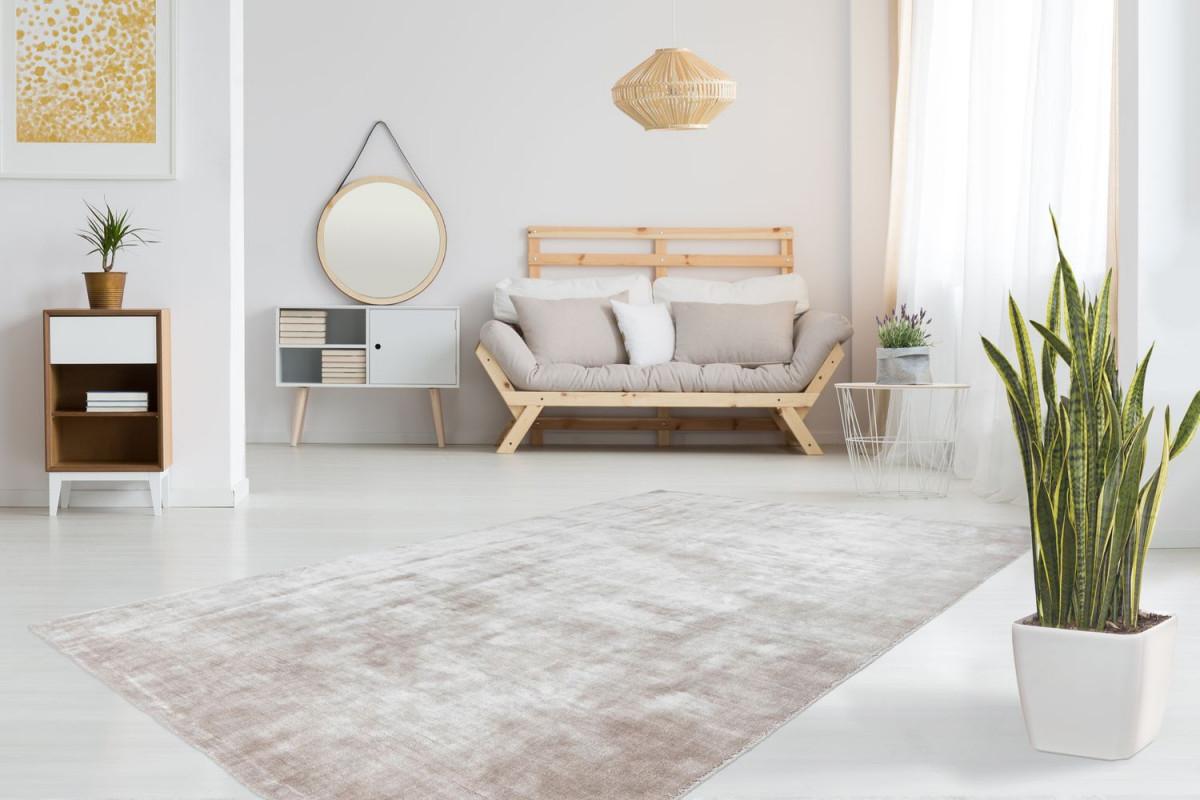 Teppich Modern Seidig Schimmernd Glänzend Wohnzimmer Beige  Wohnzimmerteppich Esszimmerteppich Teppichläufer Flurläufer Verschied  Farben von Teppich Läufer Wohnzimmer Photo