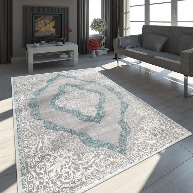 Teppich Orientlook Ornamente Türkis Creme von Grauer Teppich Wohnzimmer Bild
