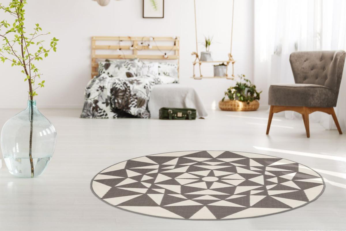 Teppich Rund Geometrisch Gemustert Dreiecke Mandala Teppiche Creme Taupe  Beige Wohnzimmerteppich Esszimmerteppich Teppichläufer Flurläufer  Verschied von Wohnzimmer Teppich Rund Bild