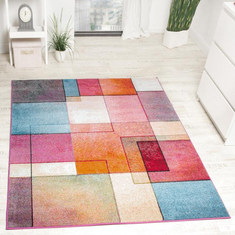 Teppich Trendig Kariert Mehrfarbig von Wohnzimmer Teppich Bunt Bild