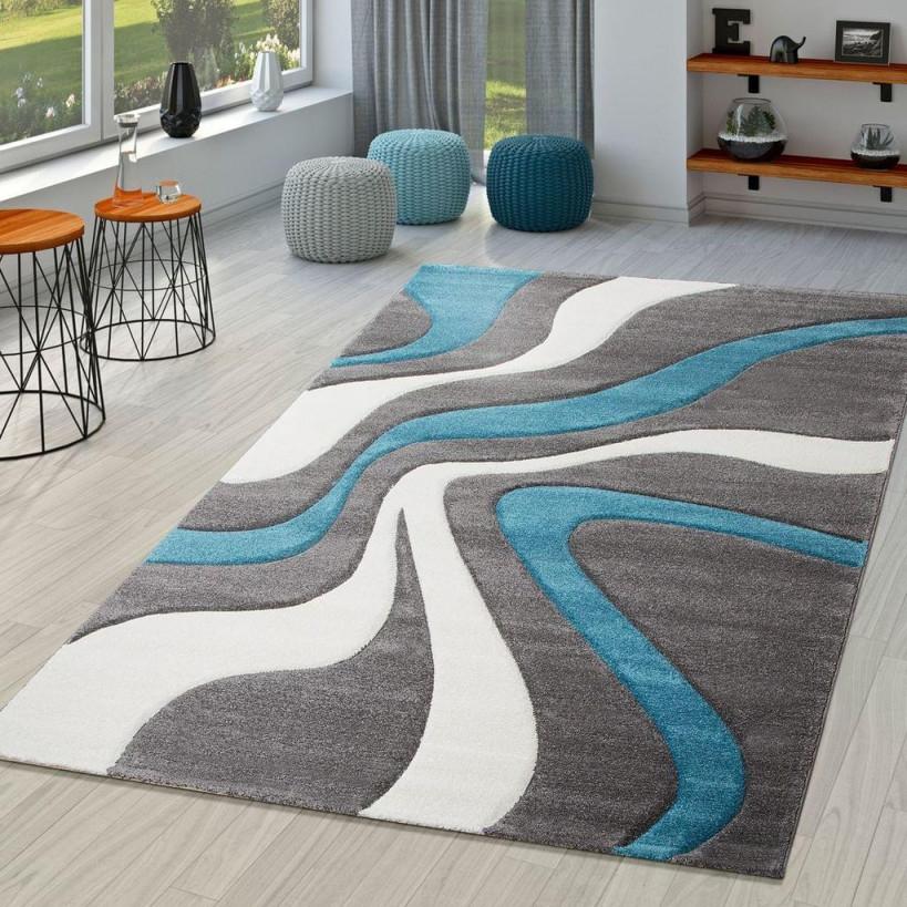 Teppich Türkis Grau Weiß Wohnzimmer Teppiche Modern Mit Konturenschnitt  Größe200X290 von Wohnzimmer Teppich Türkis Bild