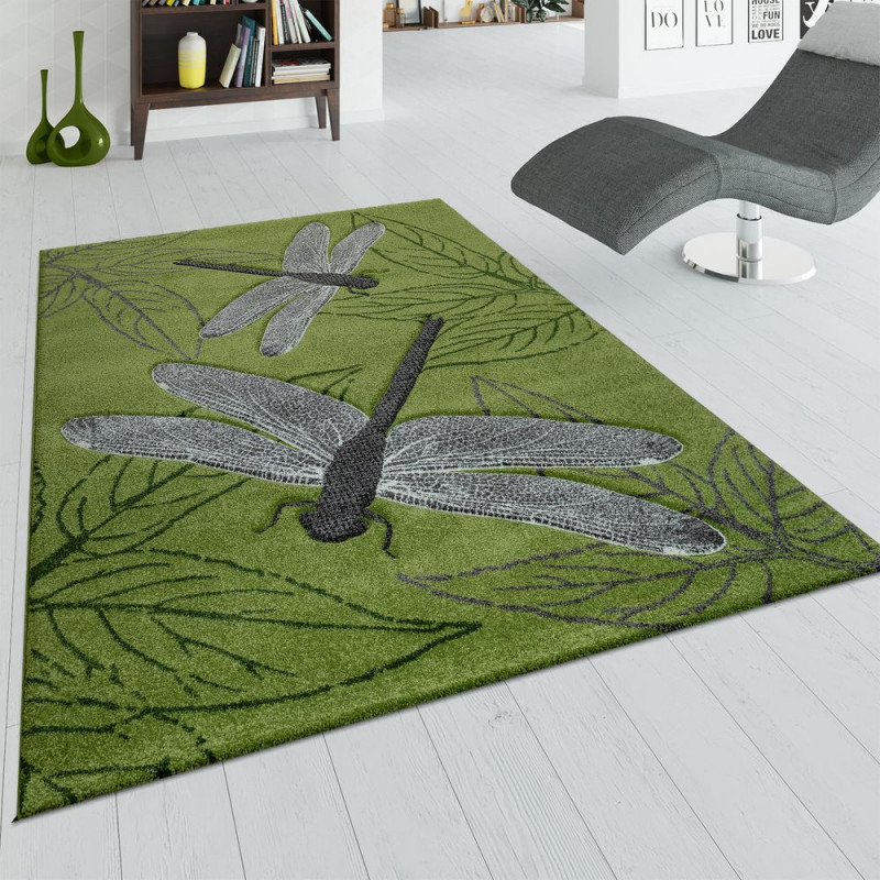 Teppich Wohnzimmer 3D Libellen Design Blätter von Teppich Wohnzimmer Grün Bild