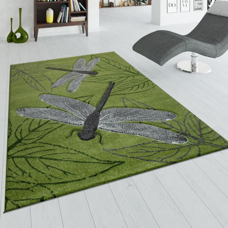 Teppich Wohnzimmer 3D Libellen Design Blätter von Wohnzimmer Teppich Grün Bild