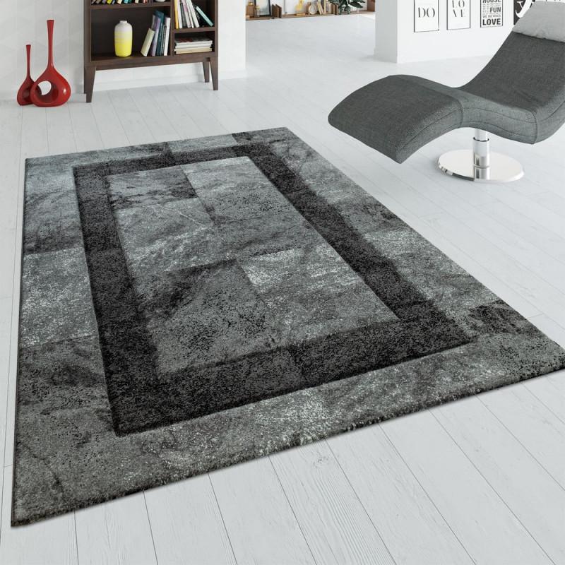 Teppich Wohnzimmer 3D Marmor Design Karo Muster von Wohnzimmer Teppich Anthrazit Bild