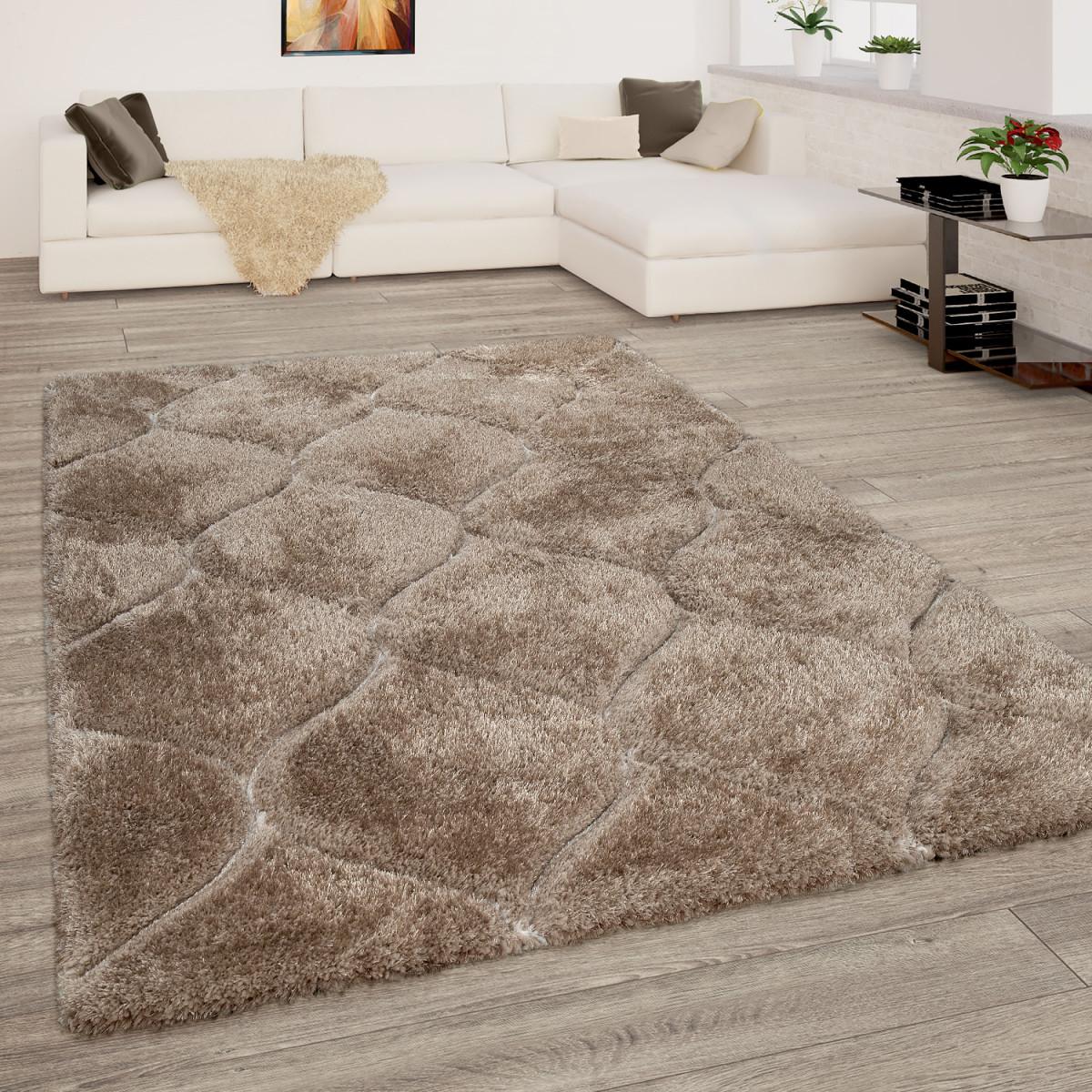 Teppich Wohnzimmer Beige Braun Hochflor Shaggy Weich Flauschig 3D Wellen  Muster von Teppich Wohnzimmer Beige Bild