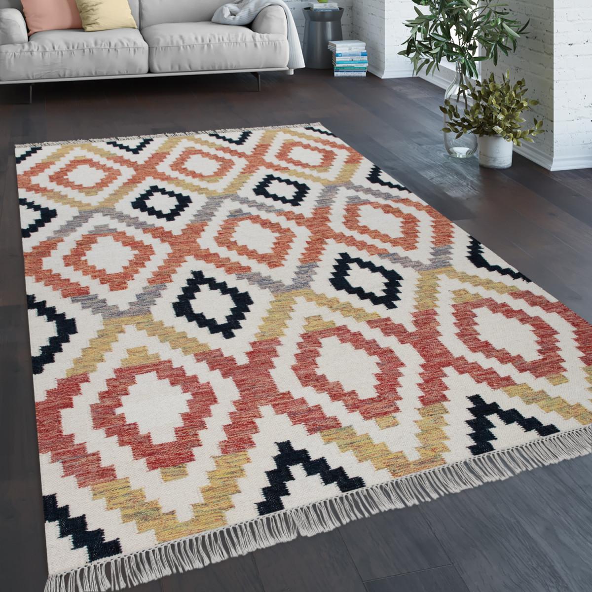 Teppich Wohnzimmer Boho Fransen Handgewebt Wolle Baumwolle Rot Schwarz Gelb  Creme von Teppich Wohnzimmer Wolle Photo
