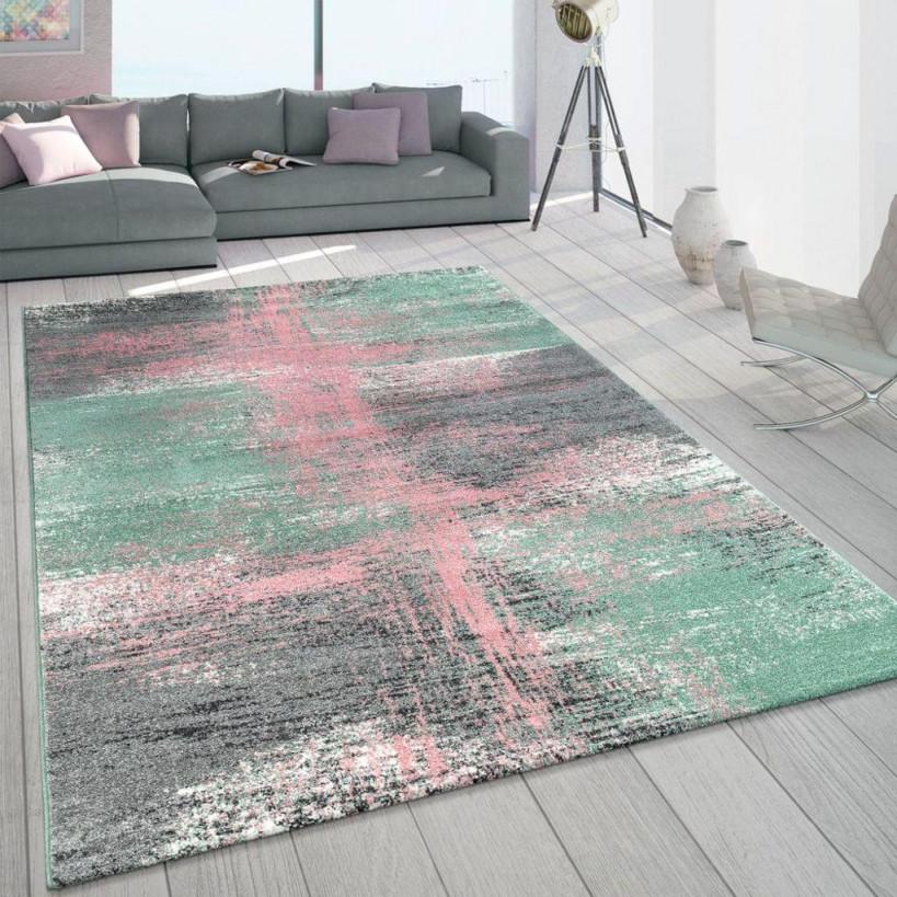 Teppich Wohnzimmer Bunt Grün Rosa Pastellfarben Vintage Design Frisé  Kurzflor von Teppich Wohnzimmer Grün Bild
