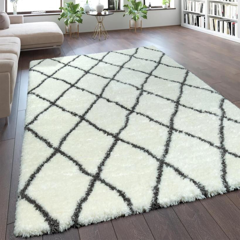 Teppich Wohnzimmer Creme Weiß Weich Groß Shaggy Flokati Rauten Muster  Hochflor von Teppich Wohnzimmer Groß Photo
