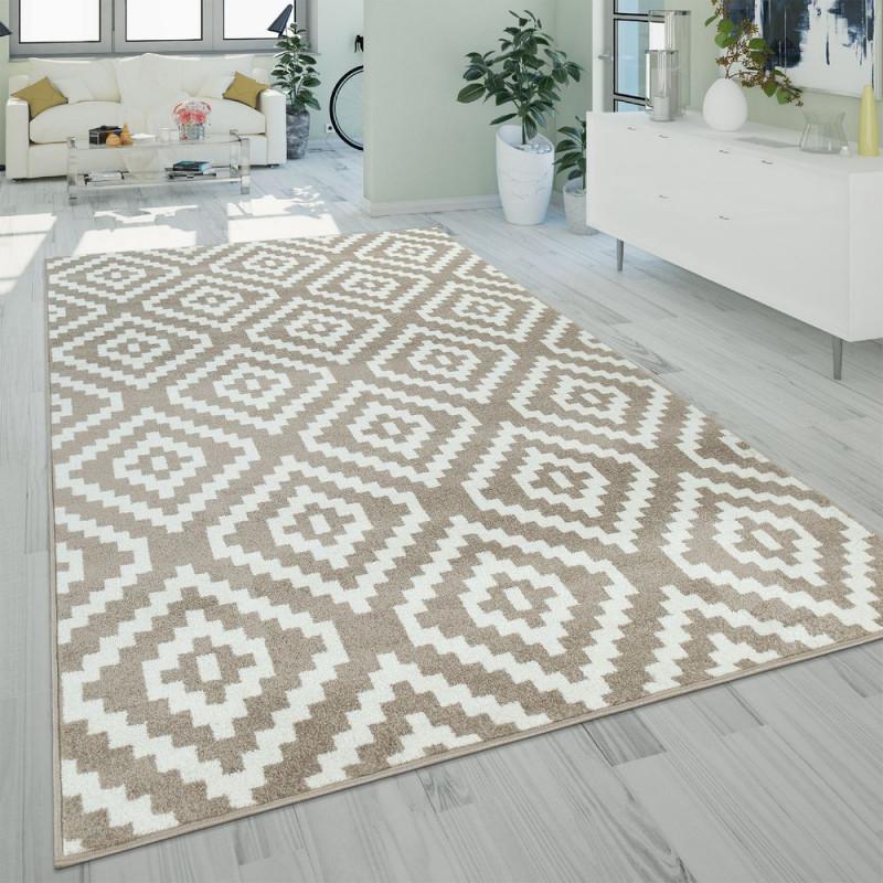 Teppich Wohnzimmer Ethnolook 3D Design Rauten von Teppich Wohnzimmer Beige Bild