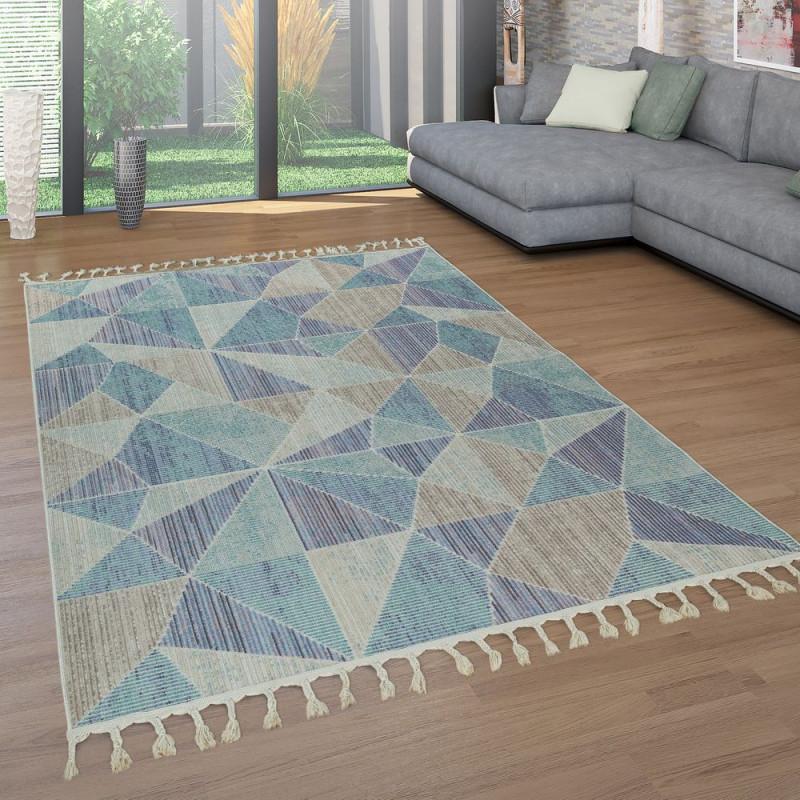 Teppich Wohnzimmer Fransen 3D Design Kurzflor von Blau Teppich Wohnzimmer Bild
