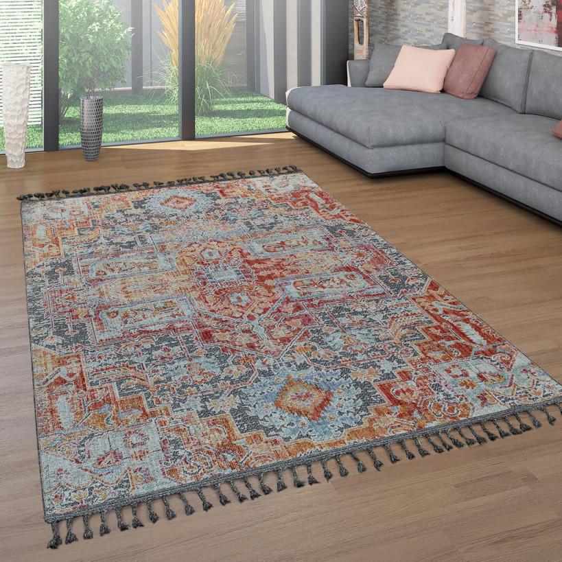Teppich Wohnzimmer Fransen Bunt Ethno Design Orient Muster Vintage Used  Look von Wohnzimmer Teppich Bunt Photo