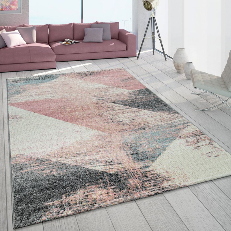 Teppich Wohnzimmer Grau Weiß Rosa Pastell Dreieck Muster von Rosa Teppich Wohnzimmer Photo
