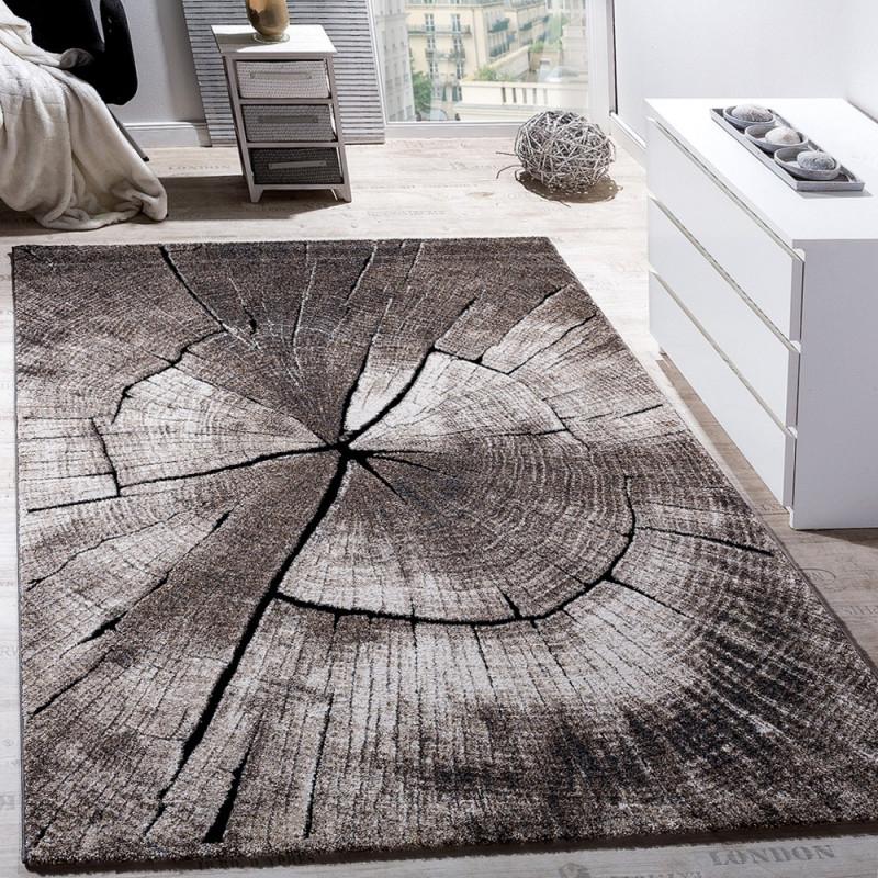 Teppich Wohnzimmer Holzstamm Optik Natur Grau Braun von Designer Teppich Wohnzimmer Bild