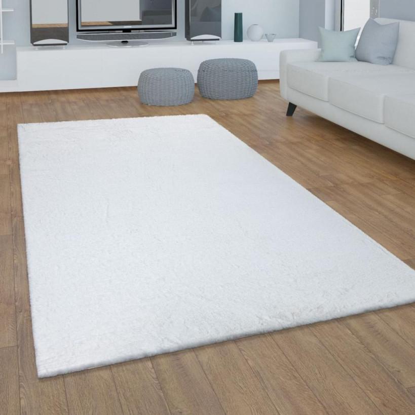 Teppich Wohnzimmer Kunstfell Plüsch Hochflor Shaggy Super Soft Waschbar In  Weiß von Teppich Wohnzimmer Weiß Photo