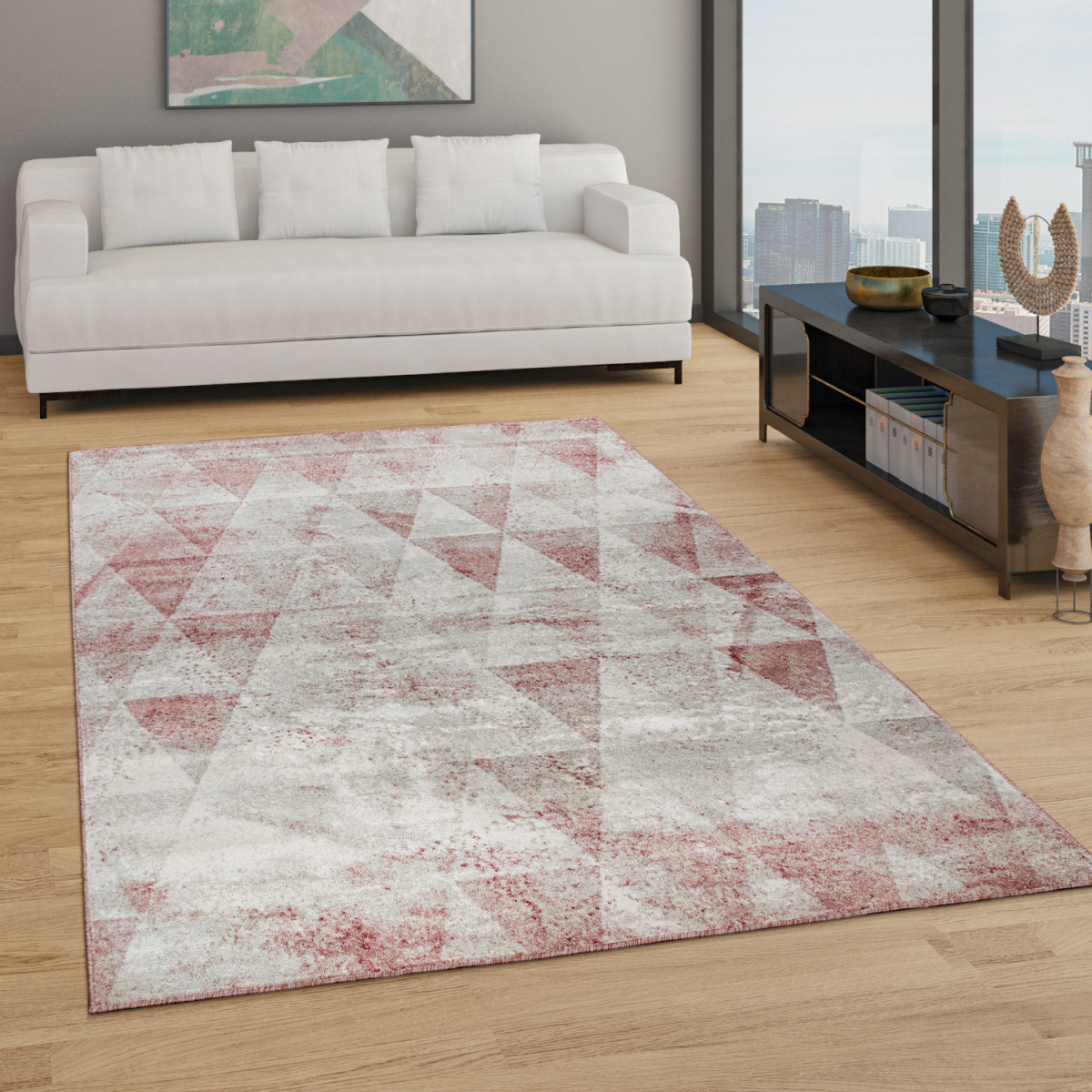 Teppich Wohnzimmer Kurzflor Boho Vintage Design Rauten Muster In Grau Rot von Teppich Wohnzimmer Rot Photo
