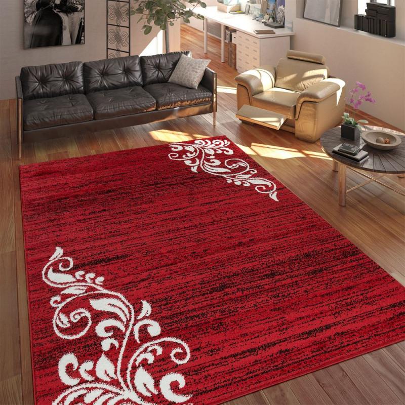 Teppich Wohnzimmer Kurzflor Muster Floral Ornament von Teppich Wohnzimmer Rot Photo