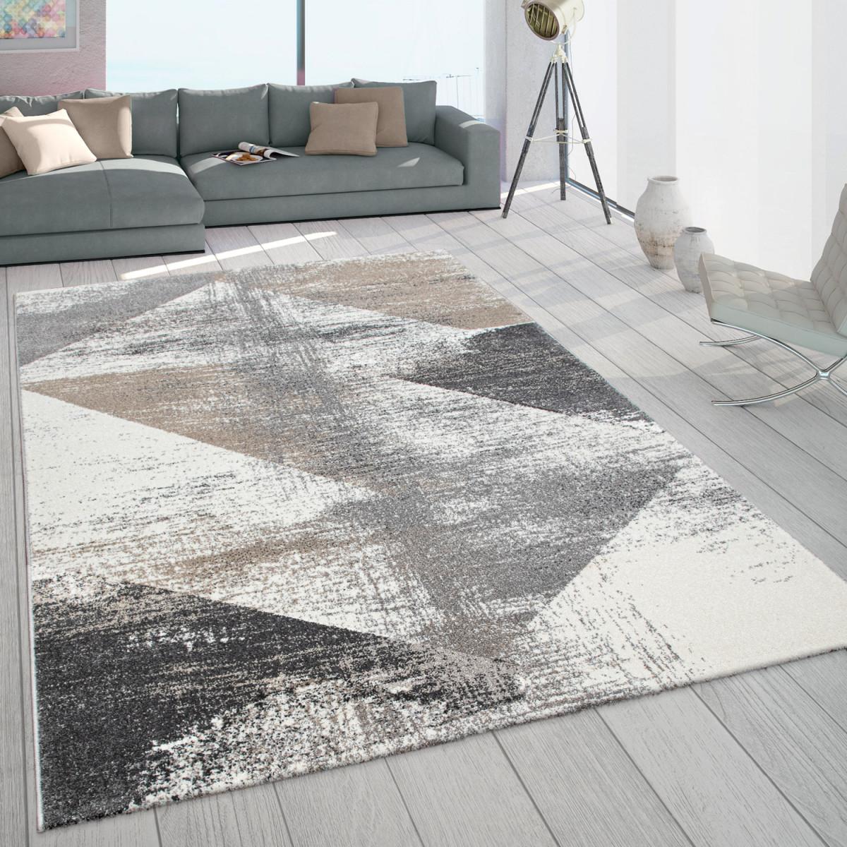 Teppich Wohnzimmer Kurzflor Vintage Design Abstraktes Muster Pastell Grau  Beige von Teppich Im Wohnzimmer Bild