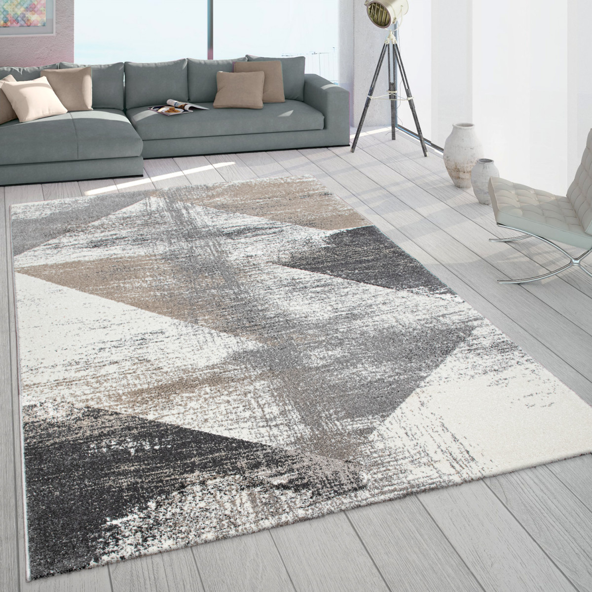 Teppich Wohnzimmer Kurzflor Vintage Design Abstraktes Muster Pastell Grau  Beige von Teppich Wohnzimmer Grau Bild