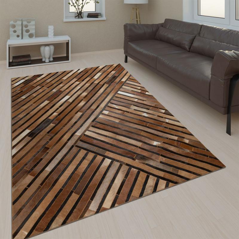 Teppich Wohnzimmer Leder Wolle Streifen Braun von Teppich Wohnzimmer Braun Photo