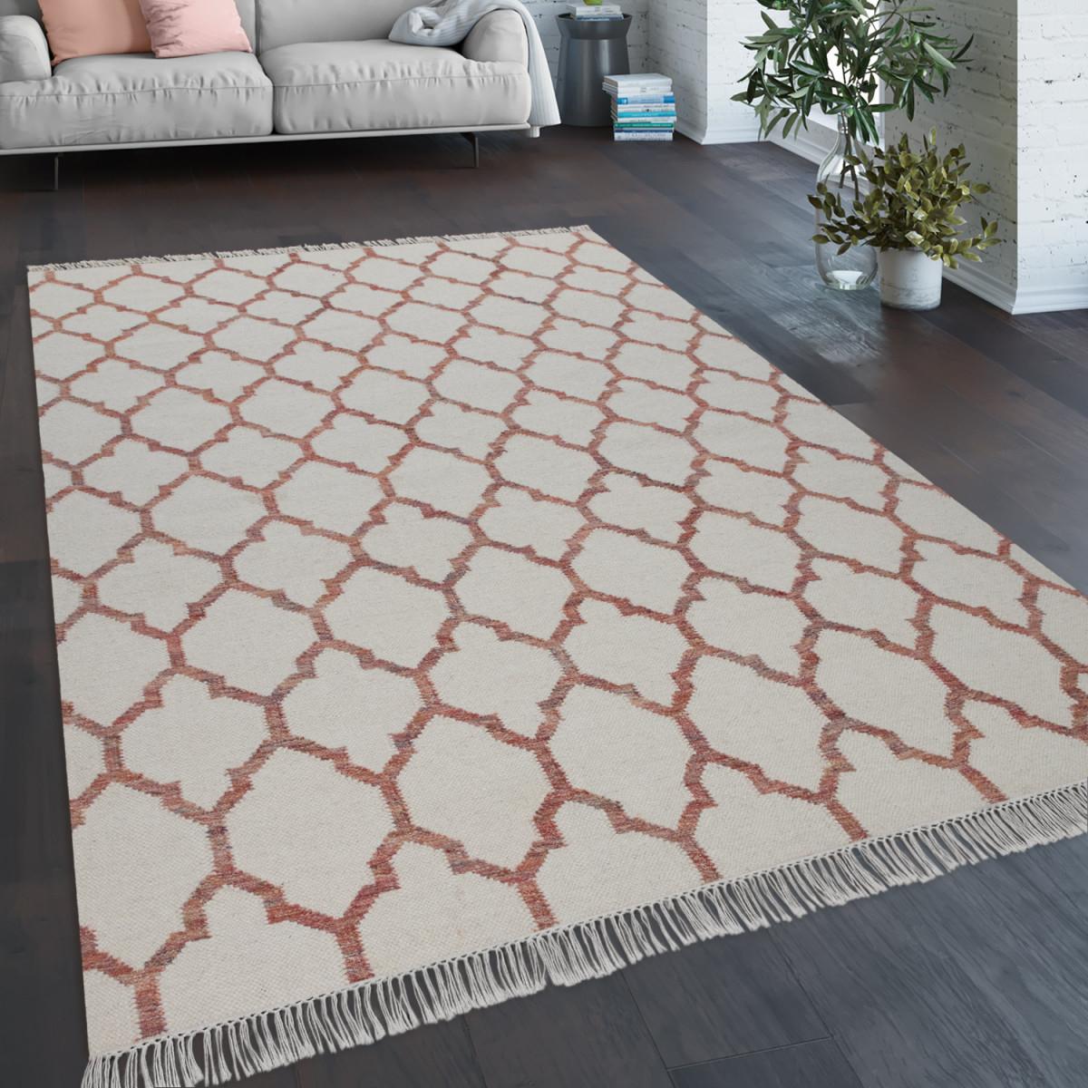 Teppich Wohnzimmer Marokkanisches Muster Fransen Handgewebt Wolle Beige Rot von Teppich Wohnzimmer Wolle Bild