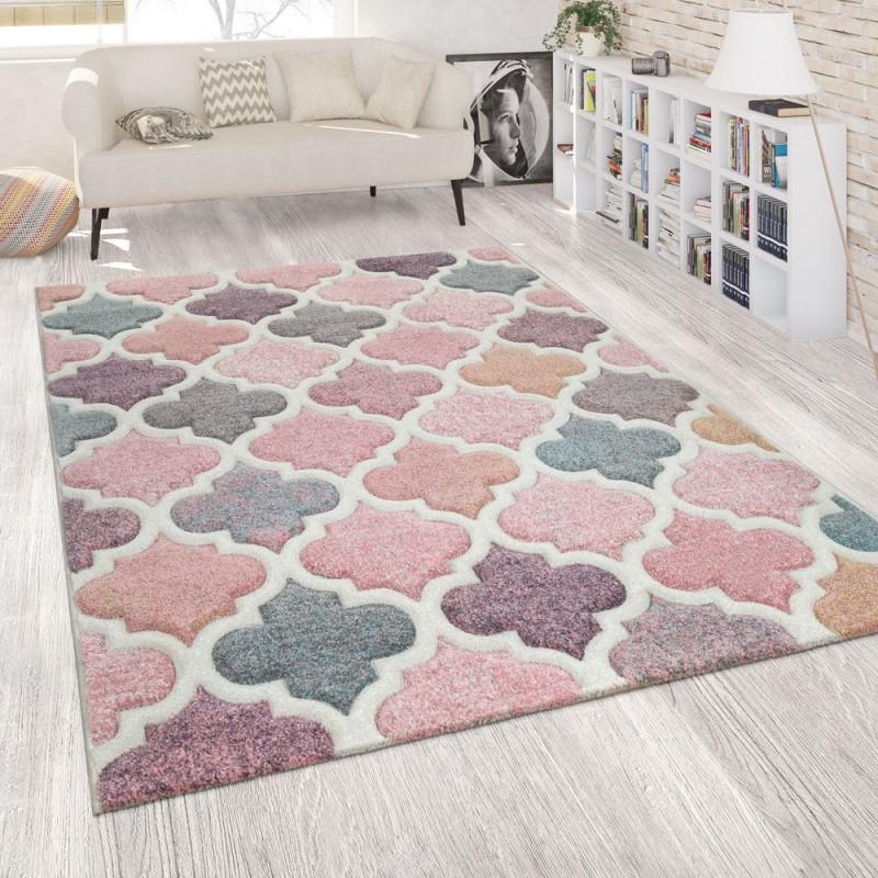 Teppich Wohnzimmer Marokkanisches Muster von Wohnzimmer Teppich Grau Rosa Bild