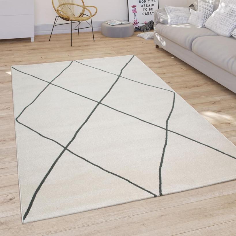 Teppich Wohnzimmer Mit Modernem Skandi Rauten Muster Kurzflor Hell In Weiß von Wohnzimmer Teppich Hell Photo