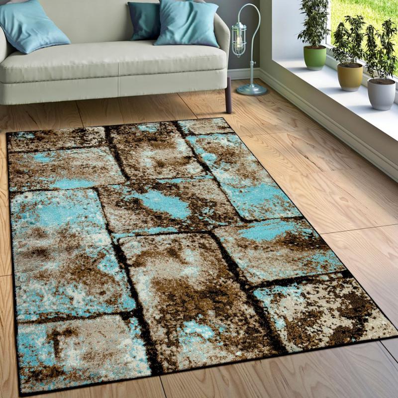 Teppich Wohnzimmer Modern Stein Optik Mauer Design von Teppich Wohnzimmer Modern Bild