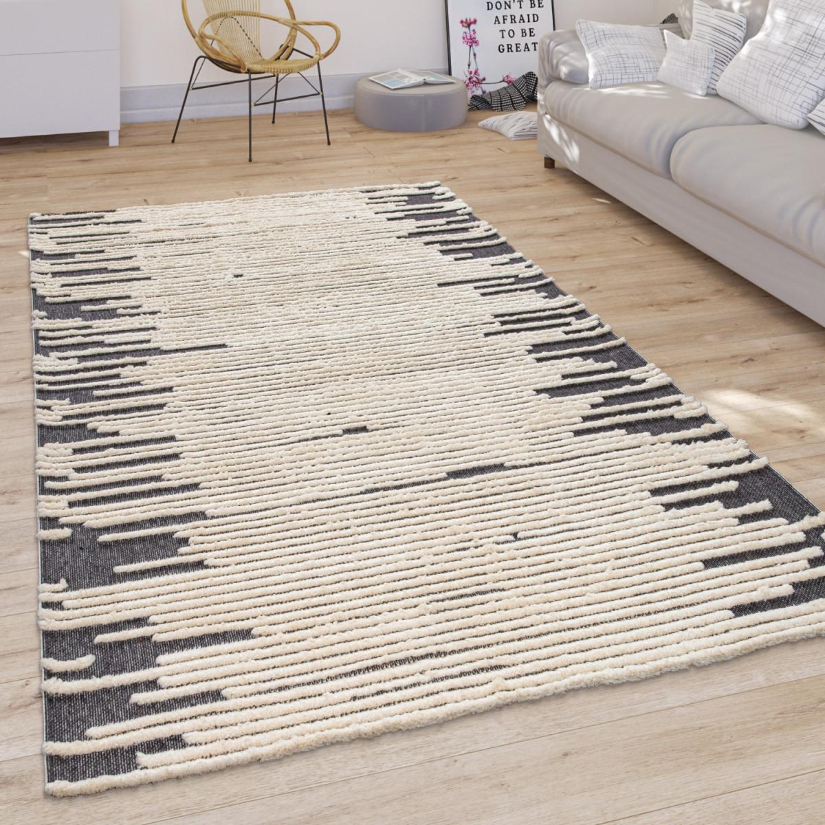 Teppich Wohnzimmer Modernes Skandi Cutout Muster Kurzflor Hell In Creme von Wohnzimmer Teppich Hell Photo