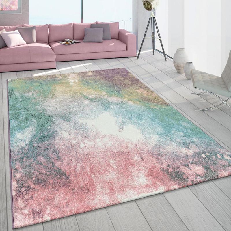 Teppich Wohnzimmer Pastell Farbverlauf Kurzflor von Wohnzimmer Teppich Rosa Bild