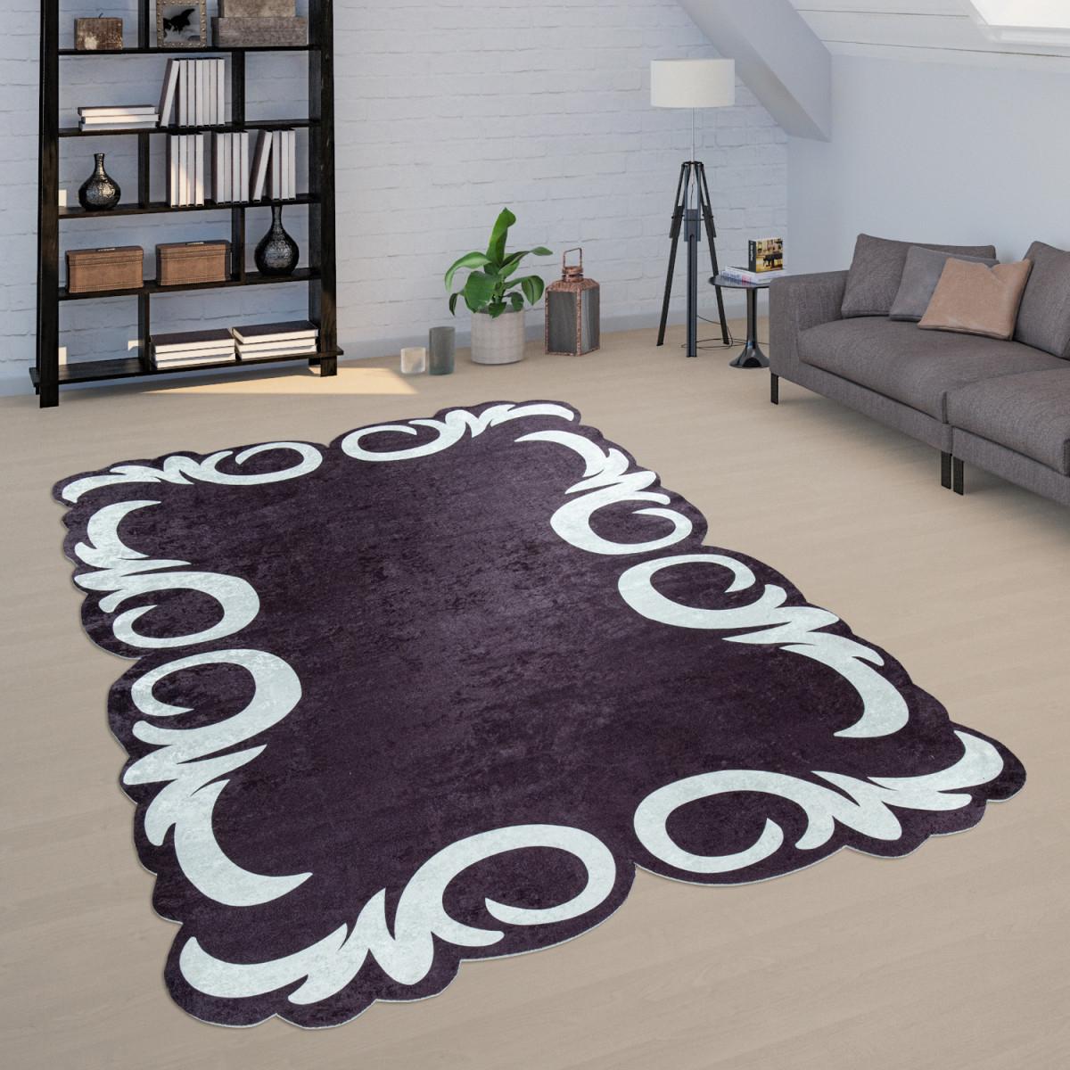 Teppich Wohnzimmer Schwarz Weiß Weich Florales Design Bordüre Robust  Kurzflor von Teppich Wohnzimmer Schwarz Bild