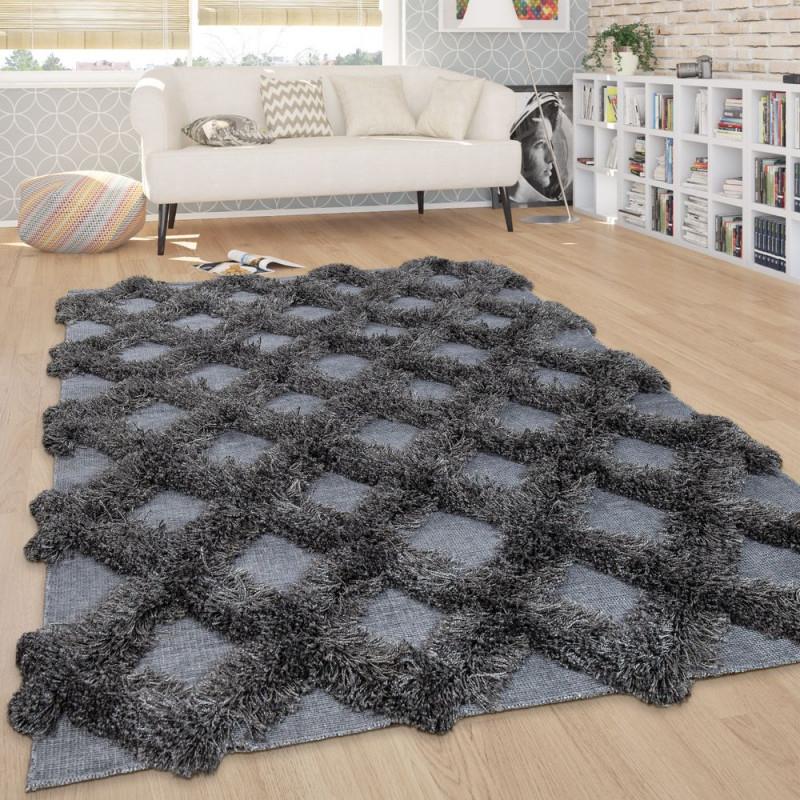 Teppich Wohnzimmer Shaggy Hochflor Rauten Skandi von Teppich Wohnzimmer Hochflor Photo