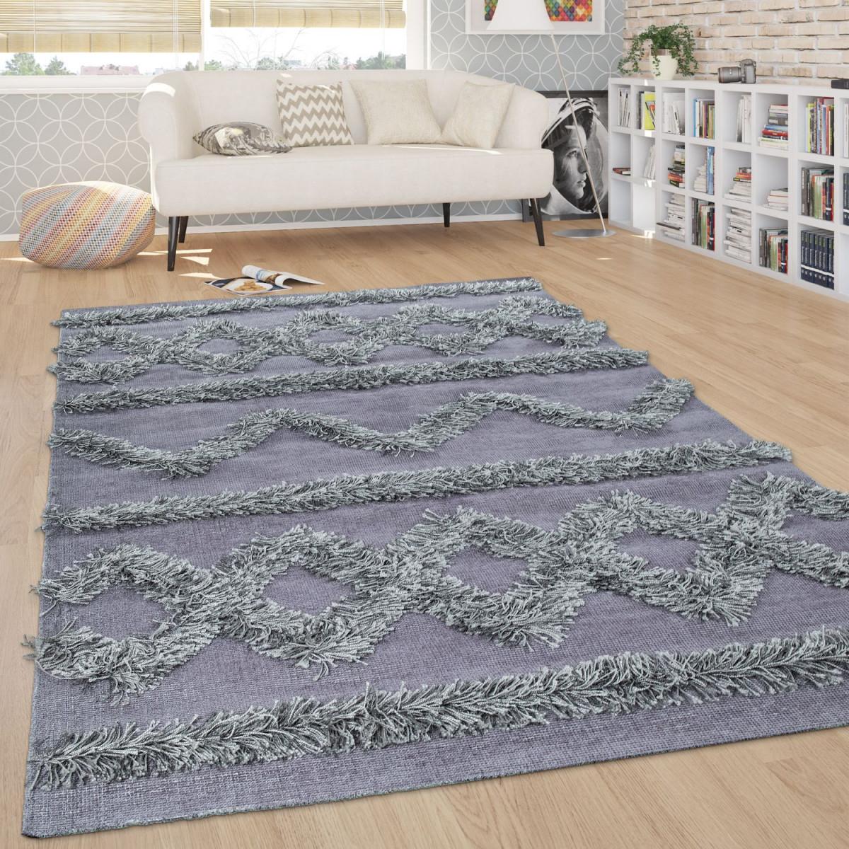 Teppich Wohnzimmer Shaggy Hochflor Zickzack Muster Skandinavisch In Uni Grau von Teppich Wohnzimmer Skandinavisch Photo