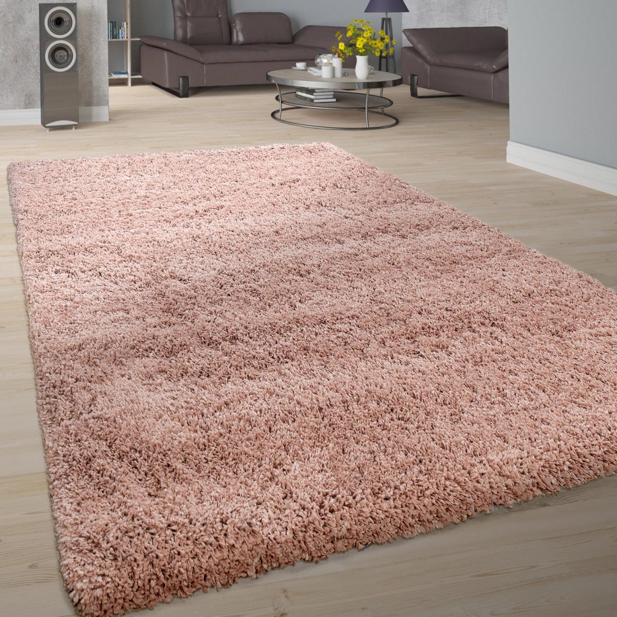 Teppich Wohnzimmer Soft Shaggy Hochflor Modern Flauschig Einfarbig In Rosa von Wohnzimmer Teppich Grau Rosa Bild