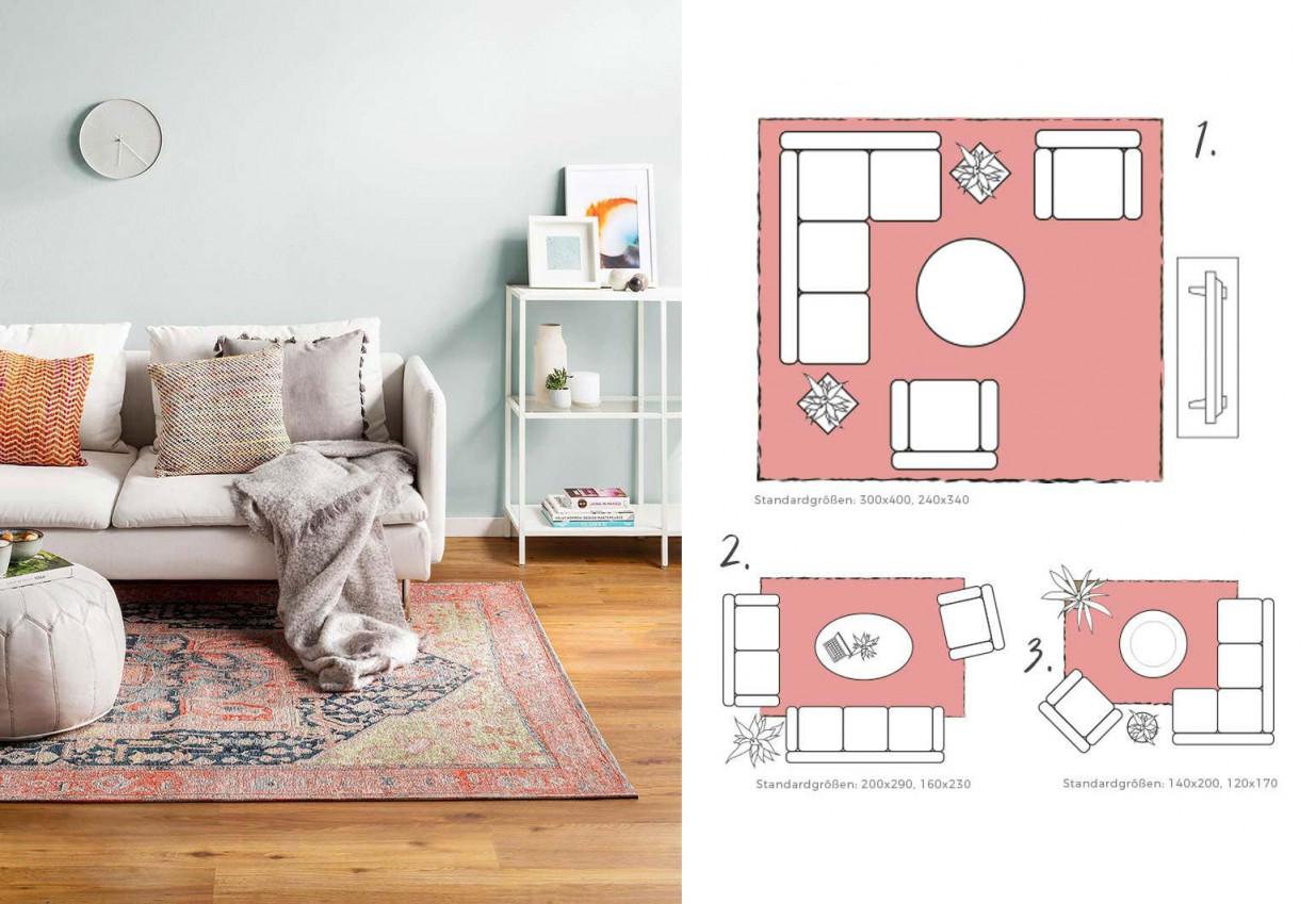 Teppichgröße Bestimmen  Teppich Richtig Platzieren von Wohnzimmer Mit Teppich Gestalten Bild