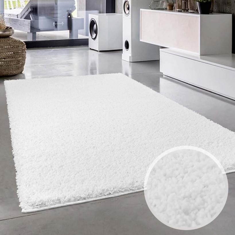 Teppichweiß Shaggy Flauschiger Hochflor Wohnteppich Einfarbiguni In  Weiß Für Wohnzimmer Schlafzimmmer Kinderzimmer Esszimmer Größe In  Cm200 X von Teppich Wohnzimmer Weiß Bild