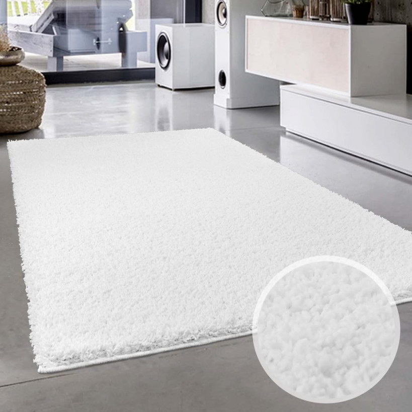 Teppichweiß Shaggy Flauschiger Hochflor Wohnteppich Einfarbiguni In  Weiß Für Wohnzimmer Schlafzimmmer Kinderzimmer Esszimmer Größe In  Cm200 X von Weisser Teppich Wohnzimmer Photo