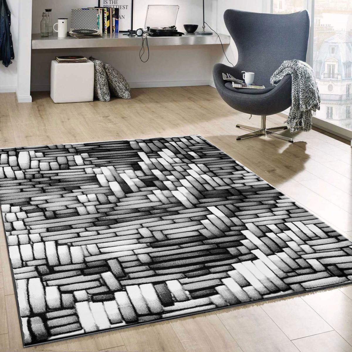 Tibett011 Grau Wohnzimmer Teppich Moderne 3D Optik von 3D Teppich Wohnzimmer Bild