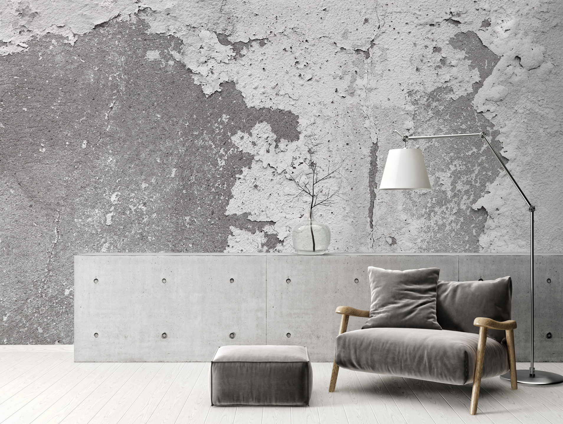 Trendtapete Mit Betonoptik von Stylische Tapeten Wohnzimmer Bild