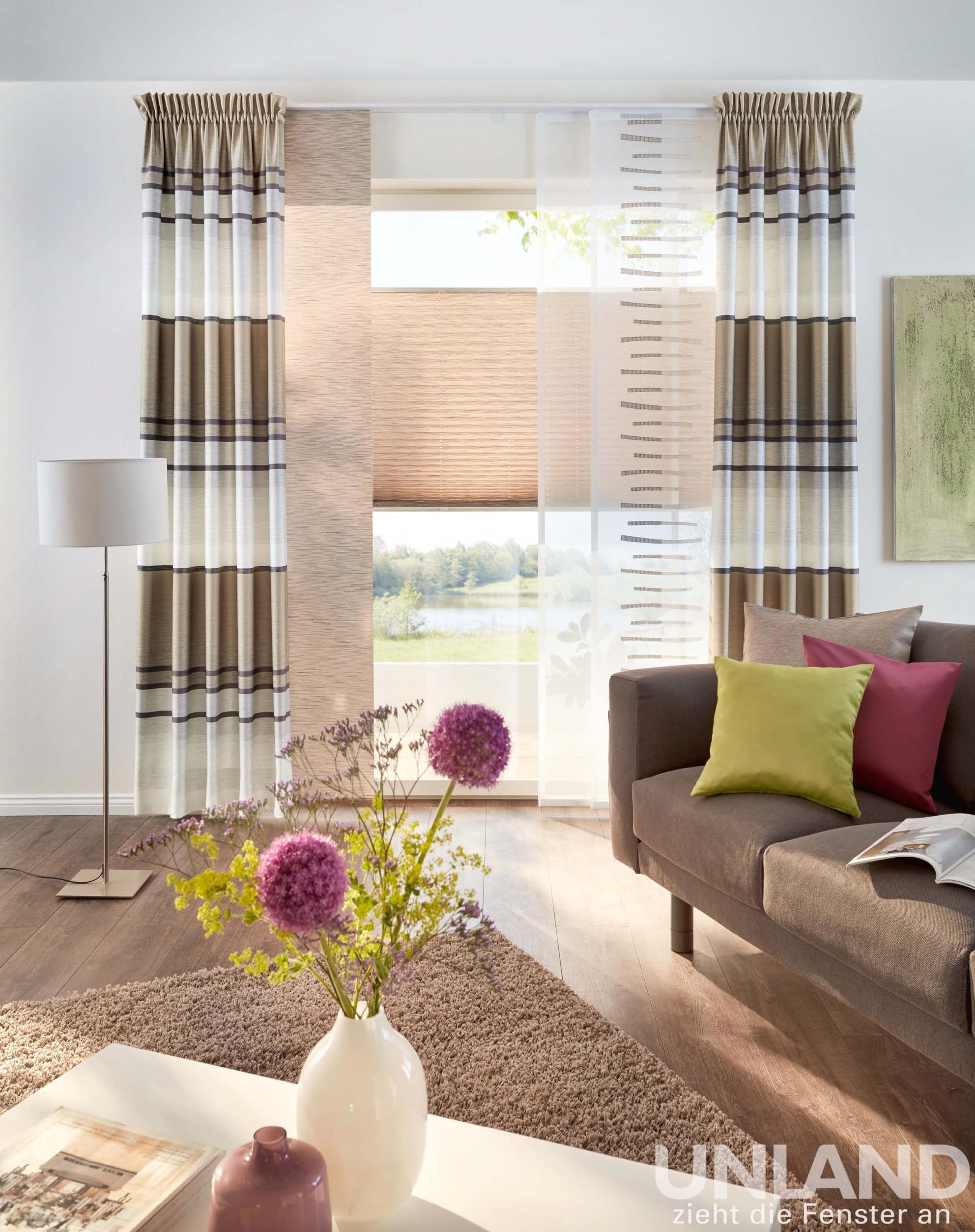 Unland Linares Cappuccino  Vorhang Fensterideen Gardinen von Gardinen Wohnzimmer Roller Bild