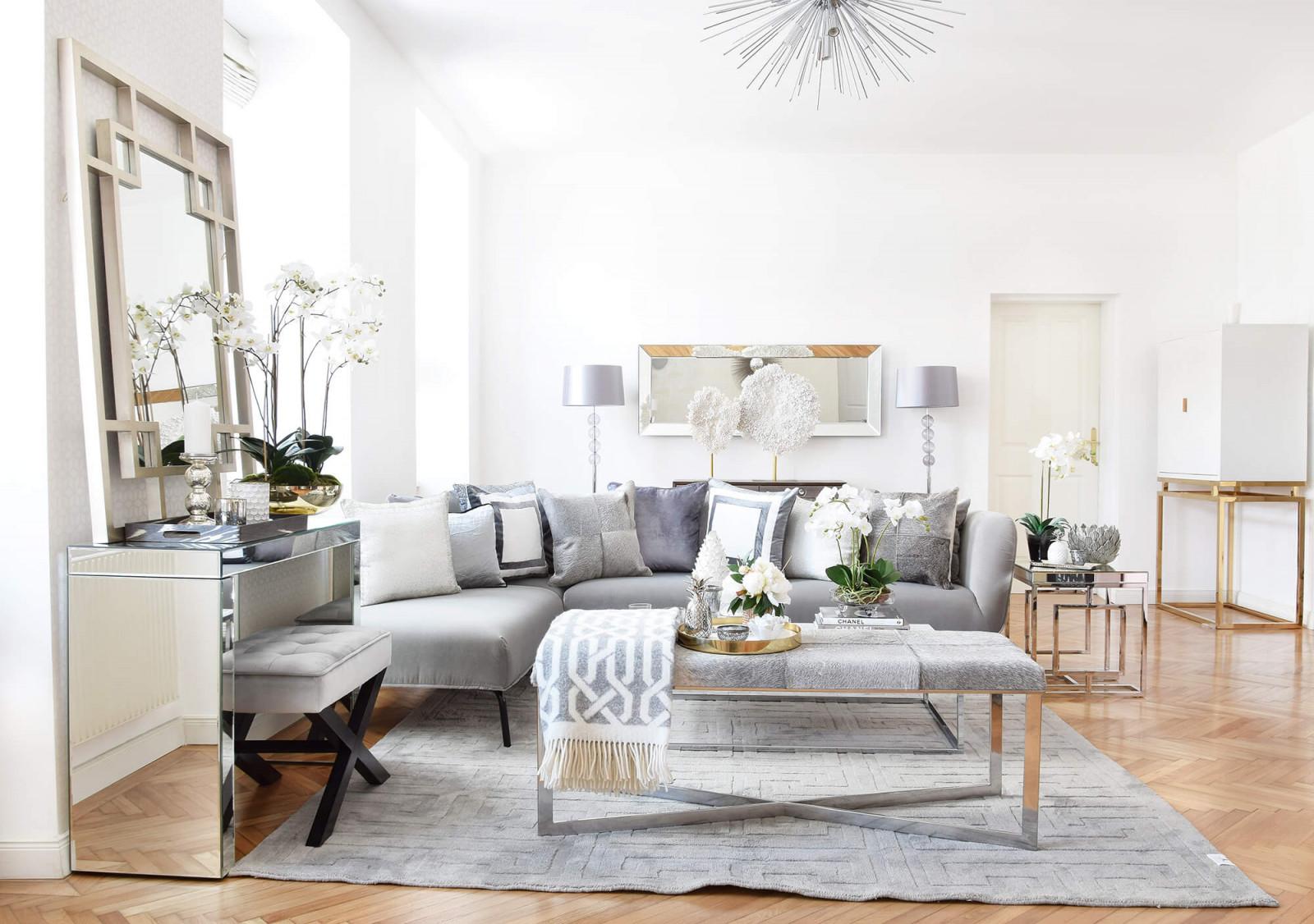 Urban Loft Livingroom  Wohnzimmer In Silber  Grau  Looks von Wohnzimmer Deko Weiss Silber Bild