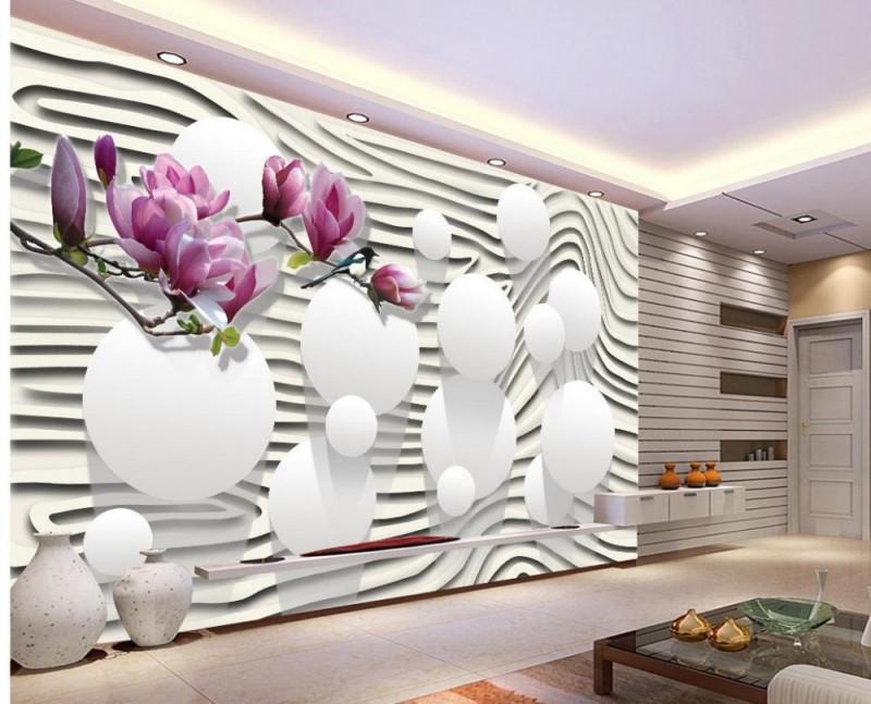 Us $105 65% Offmoderne Wohnzimmer Tapeten Lila Magnolia Blumen Tapeten  Für Wohnzimmer Dekoration Weißen Tapetewallpapers For Living  Roomwallpaper von Moderne Wohnzimmer Tapeten Bild