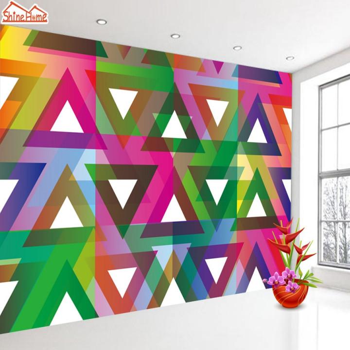 Us $1375 45% Offshinehome Bunte Dreieck Geometrische Figur 3D Tapeten  Tapeten Foto Wände Wandbilder Für 3 D Wohnzimmer Kinder Rollen Wand von Bunte Tapeten Wohnzimmer Bild