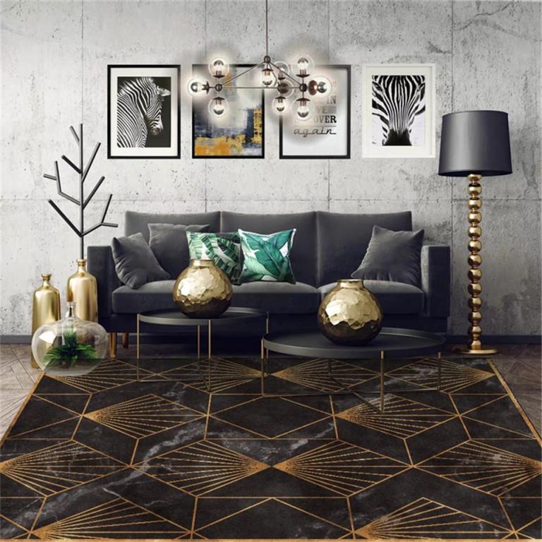 Us $1515 Schwarz Gold Marmor Moderne Luxus Teppich Wohnzimmer Grün  Geometrische Eingang Teppich Vintage Boden Teppich Für  Schlafzimmerteppich von Teppich Wohnzimmer Schwarz Photo