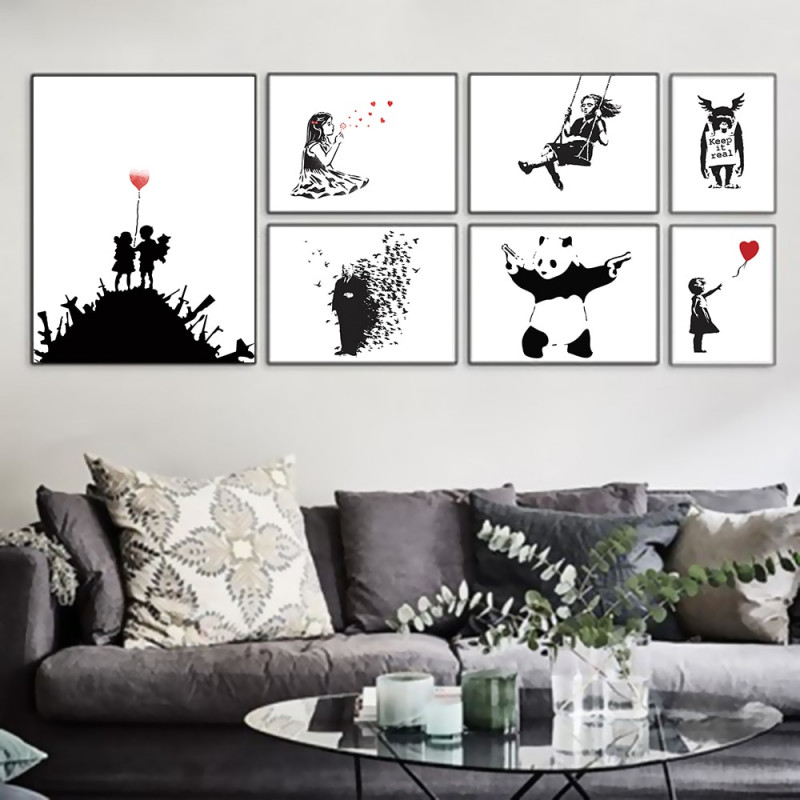Us $20 Schwarz Weiß Moderne Abstrakte Hipster Kunstdruck Poster Wand Bild  Wohnzimmer Leinwand Malerei Kein Rahmen Home Decorart Print Posterwall von Schwarz Weiß Bilder Wohnzimmer Photo