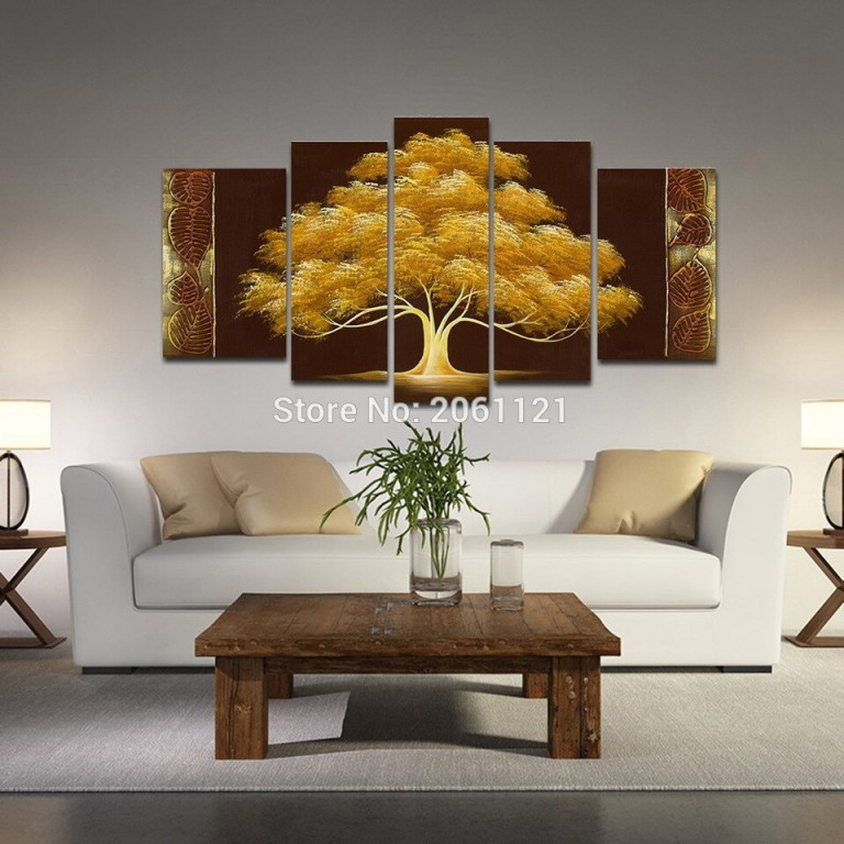 Us $3739 Handgemalte Herbst Baum Ölgemälde Gelb Braun Abstrakte Moderne  Leinwand Wand Kunst Wohnzimmer Decor Landschaft Bild 5 Stückedecorate Room von Kunst Bilder Wohnzimmer Photo